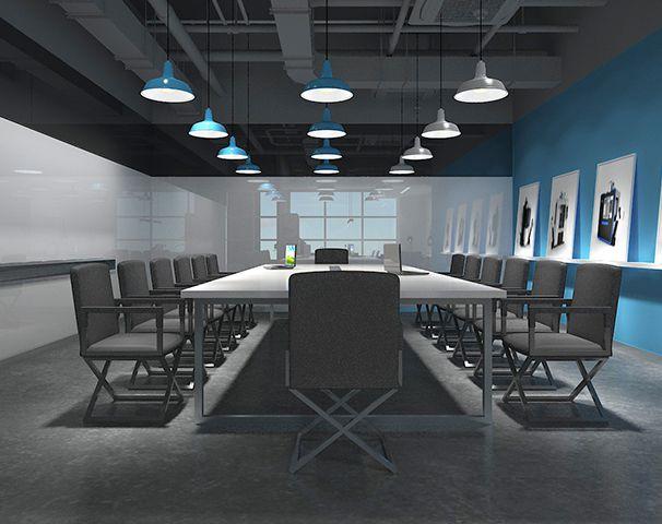 上海/会议室要求严肃的环境,所以采用暗色系的色彩和方正的会议桌椅...