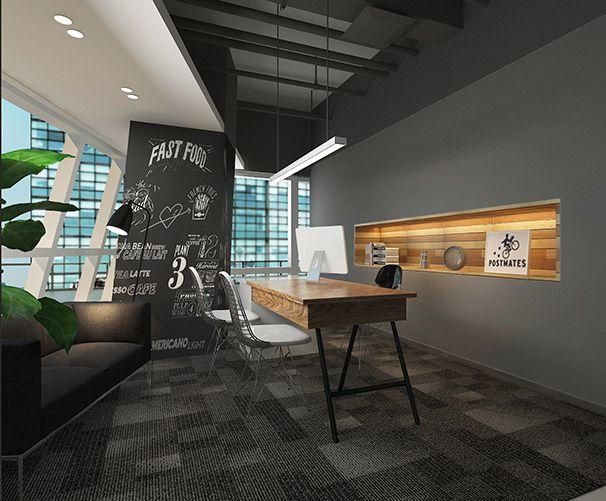 艺术品展示窗办公室设计实景图