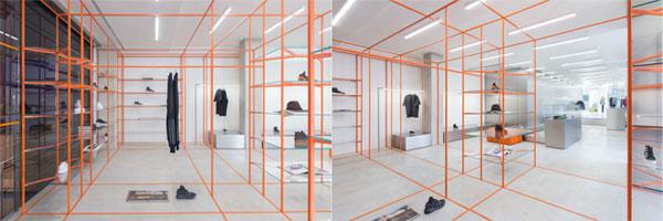 意大利北部的小城镇上有一家Acquasalata服装店,它的空间设计由Storage团队完成。设计师巧妙的通过彩色网格和带状照明,将分散的面板材料结合了起来。格栅用拉丝不锈钢制成,颜色采用黄色和橙色两种主色调。连续的条纹灯产生的动态节奏感与极简主义的空间设计形成对比,让整个服装店的空间设计简约又不失时尚弥漫着艺术气息。