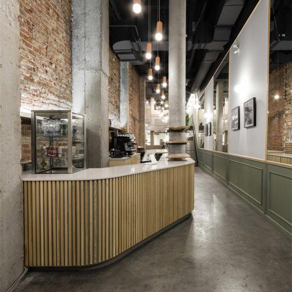 办公室设计的狭窄的休闲餐厅