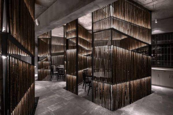餐厅办公室设计中竹子材料的使用