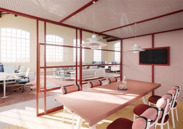 开放式办公室装修的模块化工作空间